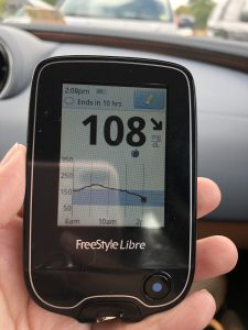 Freestyle Libre showing 108 mg/dL 2 hours post prandial. This is after eating at Nando's Peri Peri.