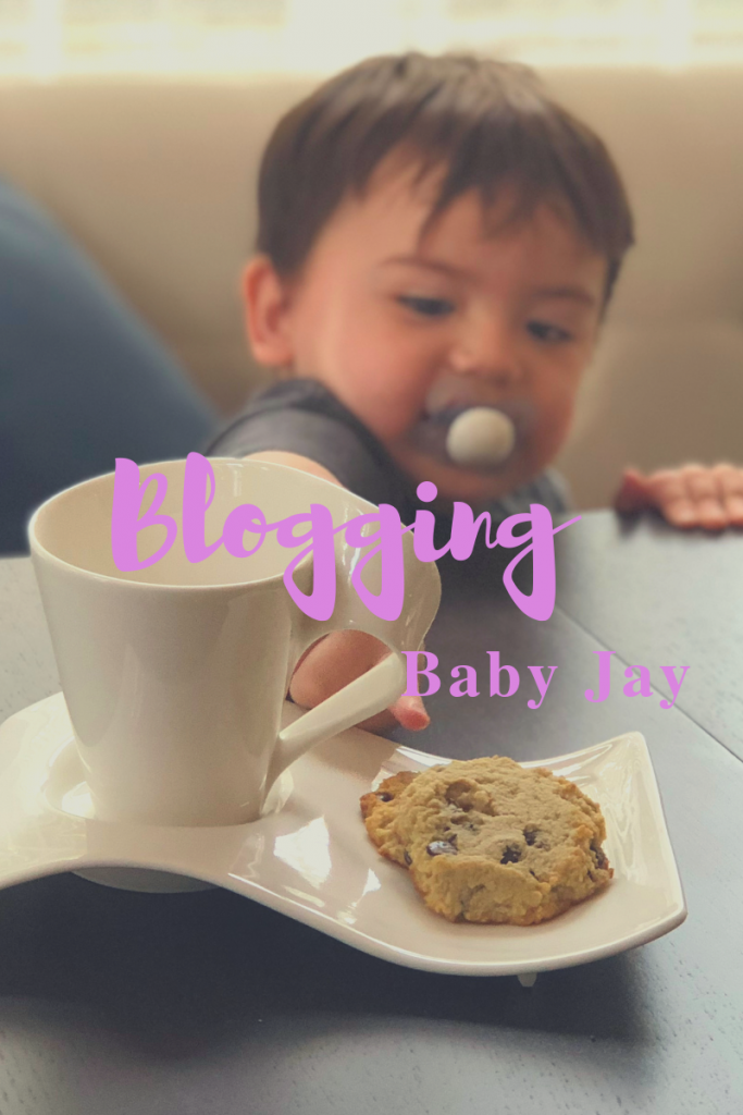 Blogging Baby Jay wants one of Mommy's cookies.