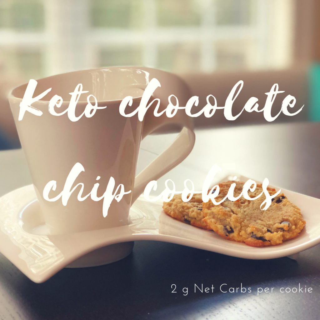 Keto Chocolate chip cookies With only 2 grams of net carbs.