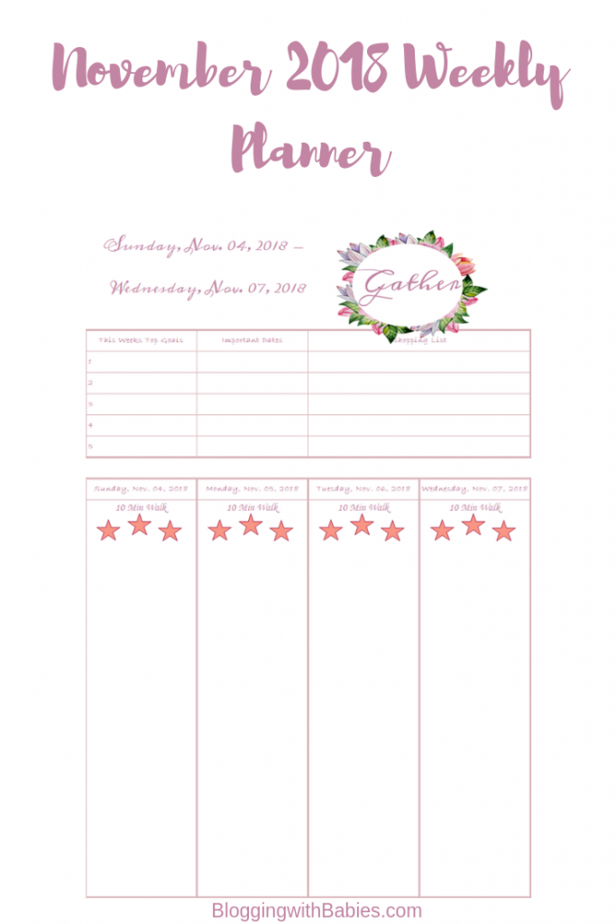 Blogging with Babies November Weekly Planner Pages Free Printable