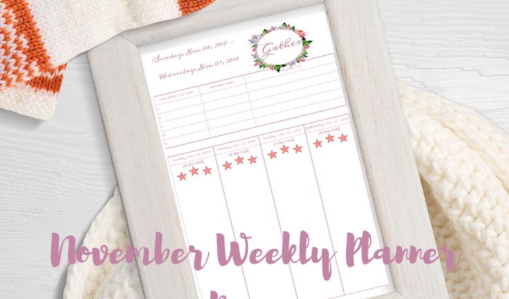 Blogging with Babies November Weekly Planner Pages