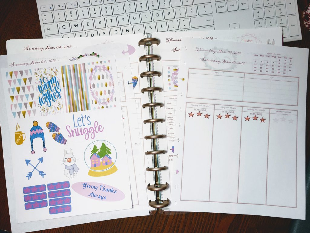 Blogging with Babies Making Stickers Using Cricut Printed without bleed lines on our personalized Happy Planner free printable inserts.